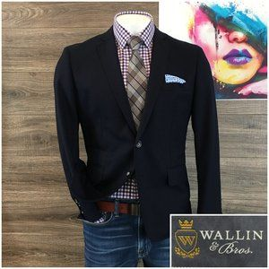 Wallin & Bros Wool Navy Blazer Sport Coat Jacket